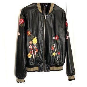 Floral Faux Leather Jacket
